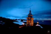 In this Feb. 1, 2015 photo, Holy Trinity church stands illuminated at Russia's Bellinghausen station on King George Island in Antarctica. Holy Trinity is the world's southernmost Eastern Orthodox Church. (AP Photo/Natacha Pisarenko)
