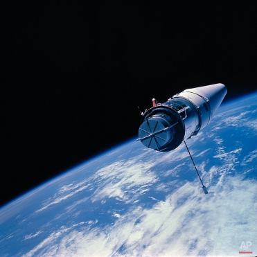 This view shows the augmented target docking adapter (ATDA) made from the Gemini 9 space capsule by astronauts Thomas Stafford and Eugene Cernan, June 3, 1966. (AP Photo)