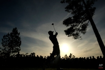 Jordan Spieth tees off on the 18th hole during the third round of the Masters golf tournament Saturday, April 11, 2015, in Augusta, Ga. (AP Photo/David J. Phillip)
