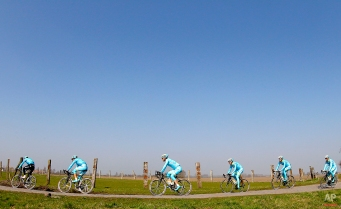 Members of the Astana Pro Team of Kazakhstan, train ahead of Sunday's 113th edition of the Paris-Roubaix cycling classic, a 253,5 kilometer (157,51 mile) one day race, of which 51,1 kilometers (31,7 miles) are run on cobblestones, in Haveluy, northern France, Thursday, April 9, 2015. (AP Photo/Michel Spingler)