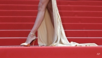 Irina Shayk's shoes at the screening of the film Sicario at the 68th international film festival, Cannes, southern France, Tuesday, May 19, 2015. (AP Photo/Lionel Cironneau)