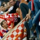 Bayern's Thomas Mueller celebrates with fans after winning 6-1 during the soccer Champions League quarterfinal second leg match between Bayern Munich and FC Porto at the Allianz Arena in Munich, southern Germany, Tuesday, April 21, 2015. (AP Photo/Matthias Schrader)