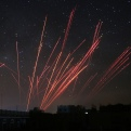 The sky over Sanaa is illuminated by anti-aircraft fire during a Saudi-led airstrike in Yemen on Friday, April 17, 2015. (AP Photo/Shohdi Alsofi)
