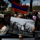 Armenians demonstrate in front of the Turkish consulate to commemorate the 100th anniversary of the 1915 Armenian genocide, in Jerusalem Friday, April 24, 2015. (AP Photo/Oded Balilty)