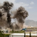 Smoke billows from a Saudi-led airstrike on Sanaa, Yemen, Wednesday, April 8, 2015. A state-run broadcaster in Iran is reporting that the Islamic Republic has sent a navy destroyer and another vessel to waters near Yemen amid a Saudi-led airstrike campaign. (AP Photo/Hani Mohammed)