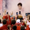 Wisconsin's Frank Kaminsky runs to the court before the NCAA Final Four college basketball tournament championship game against Duke, Monday, April 6, 2015, in Indianapolis. (AP Photo/Darron Cummings)