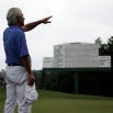 Ben Crenshaw waves to the gallery after his final round of the Masters golf tournament, Friday, April 10, 2015, in Augusta, Ga. (AP Photo/Matt Slocum)