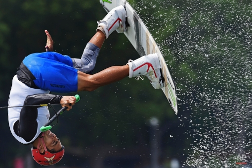 Mark Howard Griffin of the Philippines competes in the men's wakeboard semifinal at the SEA Games in Singapore, Thursday, June 11, 2015. (AP Photo/Joseph Nair)