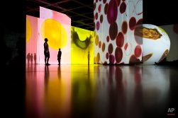 Visitors look at the installation of artist Otto Piene at Neue Nationalgalerie (New National Gallery) museum in Berlin, Aug. 6, 2014. (AP Photo/Markus Schreiber)