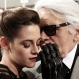 German fashion designer Karl Lagerfeld, right, talks with U.S. actress Kristen Stewart after the presentation of his 2015-2016 Chanel cruise collection at the Dongdaemun Design Plaza in Seoul, South Korea, Monday, May 4, 2015. (AP Photo/Ahn Young-joon)