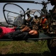 A woman, injured in Saturday's earthquake, is carried on a stretcher after being evacuated in an Indian Air Force helicopter, at the airport in Kathmandu, Nepal, Friday, May 1, 2015. The 7.8-magnitude earthquake shook Nepal's capital and the densely populated Kathmandu valley on Saturday devastating the region and leaving tens of thousands shell-shocked and sleeping in streets. (AP Photo/Niranjan Shrestha)