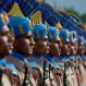 Newly recruited members of the Indian Central Reserve Police Force (CRPF) stand during their commencement parade at a base camp on the outskirts of Srinagar, Indian controlled Kashmir, Thursday, May 14, 2015. The new soldiers will join the Indian security men fighting separatist Islamic guerrillas in Kashmir and Maoist rebels in different parts of India. (AP Photo/Dar Yasin)