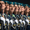 Russian soldiers march during the Victory Parade marking the 70th anniversary of the defeat of the Nazis in World War II, in Red Square in Moscow, Russia, Saturday, May 9, 2015. (AP Photo/Alexander Zemlianichenko, Pool)