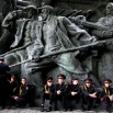 Military cadets have a rest as they prepare for a parade of Kiev military schools, within the program of military and patriotic education, timed to celebrate Victory Day at the WWII memorial in Kiev, Ukraine, Tuesday, May 5, 2015. (AP Photo/Efrem Lukatsky)