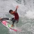 Brazil's Filipe Toledo surfs to win the final of the World Surf League (WSL) Rio Pro championship in Rio de Janeiro, Brazil, Sunday, May 17, 2015. Toledo defeated Australia's Bede Durbidge and won the championship. (AP Photo/Felipe Dana)