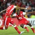 Dairon Mosquera of Colombia's Independiente Santa Fe, right, celebrates scoring his side's first goal against Brazil's Internacional during a Copa Libertadores quarter finals first leg soccer match in Bogota, Colombia, Wednesday, May 20, 2015. (AP Photo/Fernando Vergara)
