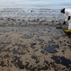 A worker removes oil from the beach at Refugio State Beach, north of Goleta, Calif., Thursday, May 21, 2015. (AP Photo/Jae C. Hong)