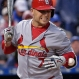 St. Louis Cardinals' Matt Holliday is hit by a pitch thrown by Kansas City Royals starter Edinson Volquez during the fifth inning of a baseball game Saturday, May 23, 2015, in Kansas City, Mo. (AP Photo/Charlie Riedel)