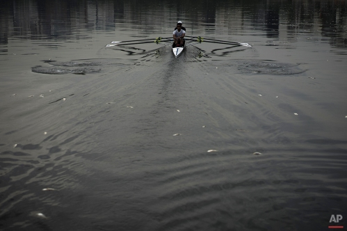 In this April 16, 2015 photo, athletes Diego Nazario, back, and Emanuel Dantas Borges, train in the Rodrigo de Freitas Lake, surrounded by dead small silvery fish, in Rio de Janeiro, Brazil. Despite decades of official pledges to clean up the mess, the stench of raw sewage still greets travelers touching down at Rio's international airport. Prime beaches are deserted because the surf is thick with putrid sludge, and periodic die-offs leave the Olympic lake, Rodrigo de Freitas, littered with rotting fish. (AP Photo/Felipe Dana, File)