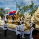 In this June 19, 2015 photo, the chariot carrying the coffin of Chea Sim, a key Cambodian political figure after the fall of the brutal Khmer Rouge regime, leads his funeral procession to a cremation ground at a public park near Royal Palace in Phnom Penh, Cambodia. Chea Sim died on June 8 at age 82. (AP Photo/Heng Sinith)