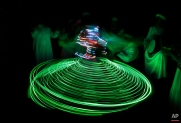 In this Thursday, April 30, 2015 photo, a whirling dervish with the Al-Tannoura Egyptian Heritage Dance Troupe spins the El Dammah Theatre in Cairo, Egypt. (AP Photo/Amr Nabil)