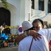 Mourners Cynthia Wright-Murphy, right, hugs her sister Carolyn Wright-Porcher, right, outside the Emanuel AME Church, Saturday, June 20, 2015 in Charleston, S.C. (AP Photo/Stephen B. Morton)
