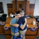 Gerald Gafford, right, comforts his partner of 28 years, Jeff Sralla, left, as they stand before Judge Amy Clark Meachum to receive obtain a time waiver at the Travis County Courthouse after the U.S. Supreme Court ruled that same-sex couples have the right to marry nationwide, Friday, June 26, 2015, in Austin, Texas. Sralla broke into tears as the judge approved the waiver allowing the couple to get married this weekend. (AP Photo/Eric Gay)