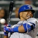 Toronto Blue Jays Edwin Encarnacion reacts to Jeurys Familia's brushback pitch in a baseball game against the New York Mets in New York, Monday, June 15, 2015. (AP Photo/Kathy Willens)