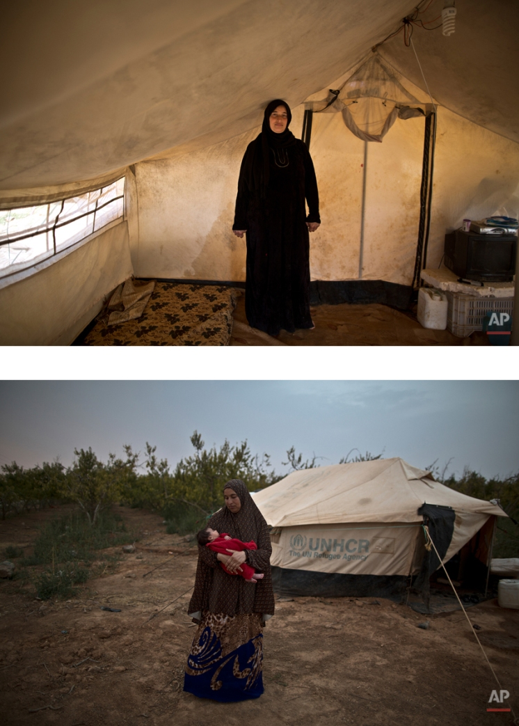 """This combination of two images taken between Monday, March 16, 2015, top, and Tuesday, Aug. 4, 2015, shows Syrian refugee Mona Hussein, 33, posing for a picture while being pregnant, and after giving birth to her child, at an informal tented settlement near the Syrian border, on the outskirts of Mafraq, Jordan. """"We are left alone. No one comes to check on us. We live by the roadside,"""" Hussein says. (AP Photo/Muhammed Muheisen)"""