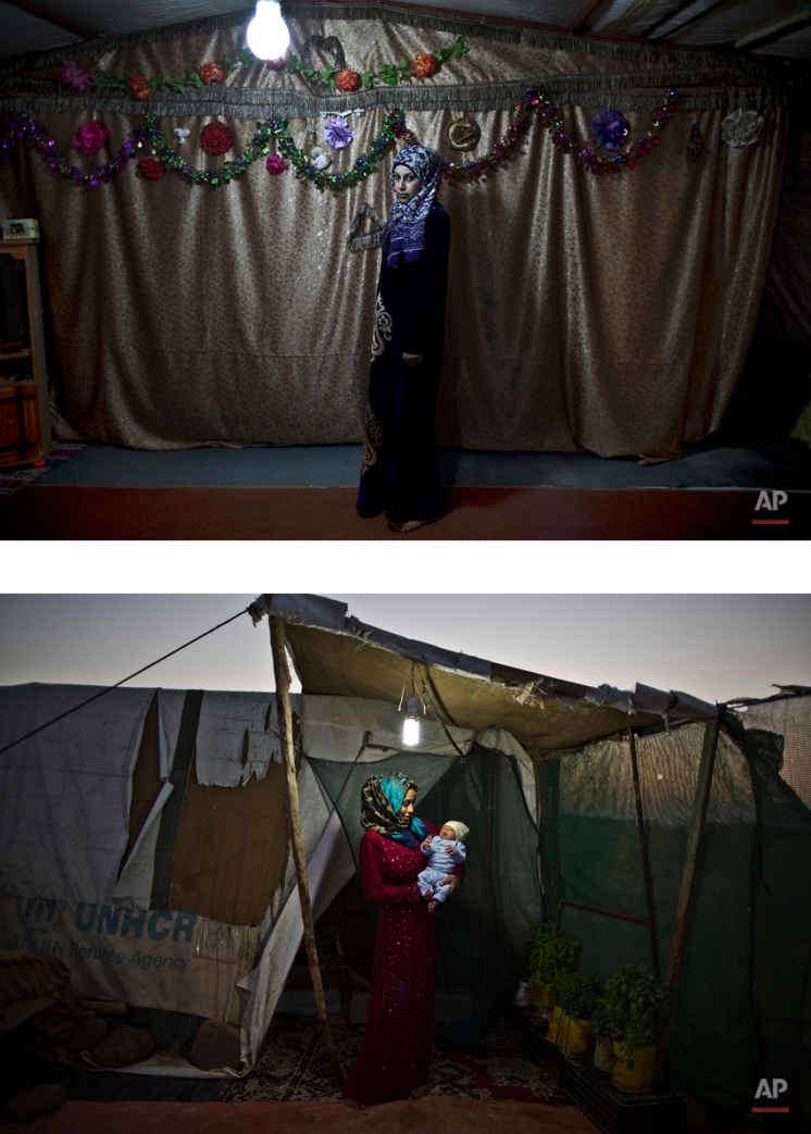 """This combination of two images taken between Tuesday, March 17, 2015, top, and Saturday, Aug. 1, 2015, shows Syrian refugee Huda Alsayil, 20, posing for a picture while being pregnant, and after giving birth to her child, at an informal tented settlement near the Syrian border, on the outskirts of Mafraq, Jordan. After delivering Mezwid, her first son, despite fears of medical complications, Alsayil says she now feels """"complete"""" for the first time in months. """"Holding him feels like the best gift I could be granted,"""" she says. (AP Photo/Muhammed Muheisen)"""