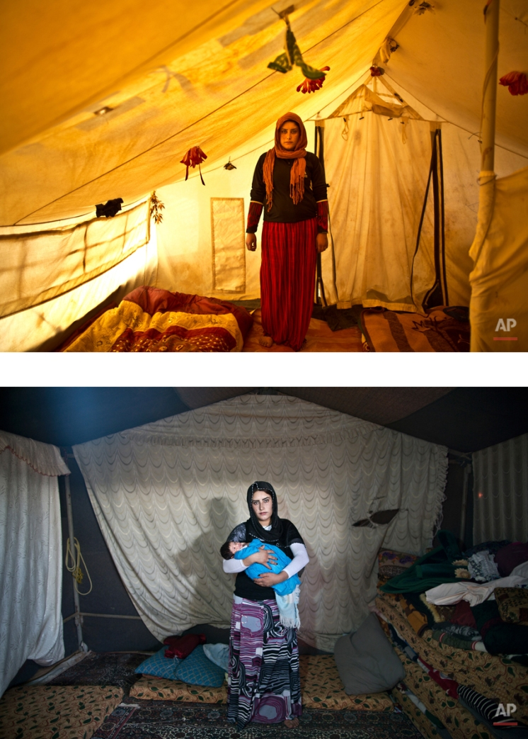 """This combination of two images taken between Monday, March 16, 2015, top, and Tuesday, Aug. 11, 2015, shows Syrian refugee Wadhah Hamada, 22, posing for a picture while being pregnant, and after giving birth to her child, at an informal tented settlement near the Syrian border, on the outskirts of Mafraq, Jordan. The challenges that the refugees face is laid bare by Hamada: """"Winter is so cold, summer is hot and dry. My husband hardly works and some of the decisions we had to make have been deciding what is more important: To buy bread to feed ourselves or medicine in case my child is in need?"""" (AP Photo/Muhammed Muheisen)"""