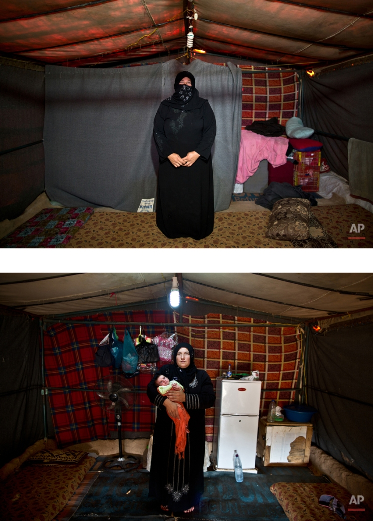 """This combination of two images taken between Monday, March 16, 2015, top, and Wednesday, Aug. 19, 2015, shows Syrian refugee Huda Alhumaidi, 30, posing for a picture while being pregnant, and after giving birth to her child, at an informal tented settlement near the Syrian border, on the outskirts of Mafraq, Jordan. """"I'm speechless, I have no words left,"""" Alhumaidi says. """"We are done complaining and begging for help. We are abandoned here. I just want to go back to my country. Even if we have to start from zero there as we lost our home, at least we will be able to live with dignity."""" (AP Photo/Muhammed Muheisen)"""