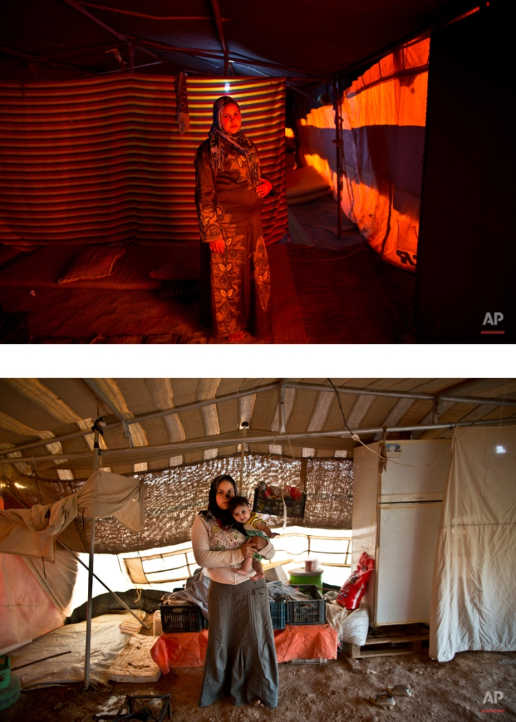 """This combination of two images taken between Monday, March 16, 2015, top, and Sunday, Aug. 16, 2015, shows Syrian refugee Bushra Eidah,16, posing for a picture while being pregnant, and after giving birth to her child, at an informal tented settlement near the Syrian border, on the outskirts of Mafraq, Jordan. """"We used to be two and now we are three,"""" Eidah says. """"When it was only me and my husband, it didn't matter if we went to sleep hungry, but now we have a child and I don't know how we are going to feed her."""" (AP Photo/Muhammed Muheisen)"""