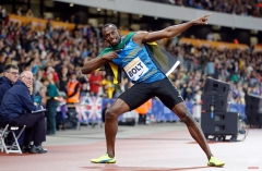 Jamaica's Usain Bolt celebrates after the 100m run during the Diamond League athletics meeting at the Olympic Stadium in London, Friday, July 24, 2015. (AP Photo/Frank Augstein)
