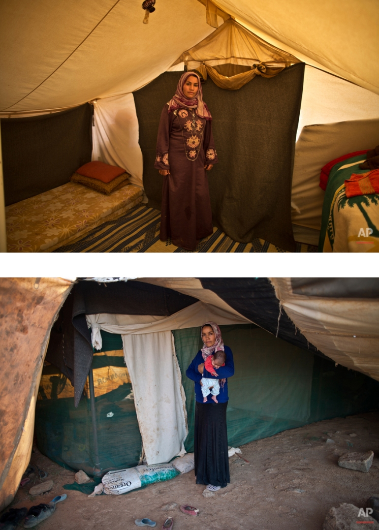 """This combination of two images taken between Monday, March 16, 2015, top, and Friday, Aug. 14, 2015, shows Syrian refugee Khalida Moussa, 28, posing for a picture while being pregnant, and after giving birth to her child, at an informal tented settlement near the Syrian border, on the outskirts of Mafraq, Jordan. """"I delivered several days after my due day and I was so afraid,"""" Moussa says. """"We had to borrow money for me to deliver and up to now my husband hasn't paid it back. He can't afford it."""" (AP Photo/Muhammed Muheisen)"""