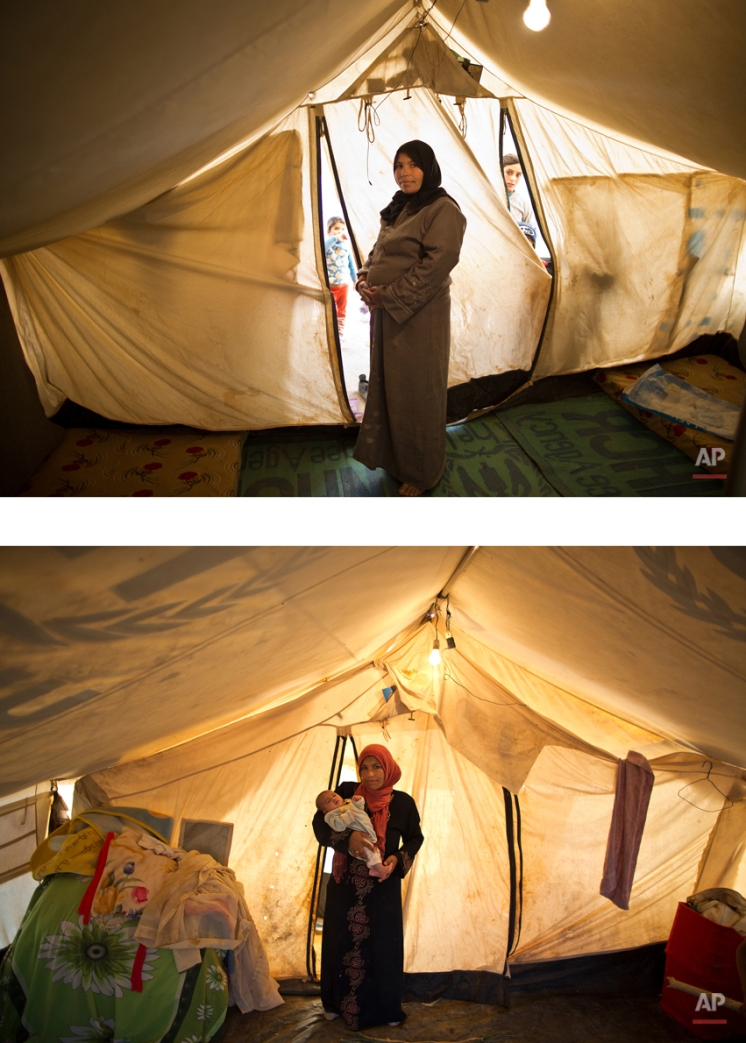 """This combination of two images taken between Monday, March 16, 2015, top, and Friday, Aug. 14, 2015, shows Syrian refugee Taleea Farhan, 33, posing for a picture while being pregnant, and after giving birth to her child, at an informal tented settlement near the Syrian border, on the outskirts of Mafraq, Jordan. """"Our tent fell on us. I picked up my newly born child in my arms and ran with my other children randomly till we all hid ourselves in a neighbor's tent for two hours till the storm calmed down,"""" Farhan recounts. """"During these two hours we didn't stop crying, it was so scary. Up to now, all my children are suffering from infection from the dust."""" (AP Photo/Muhammed Muheisen)"""