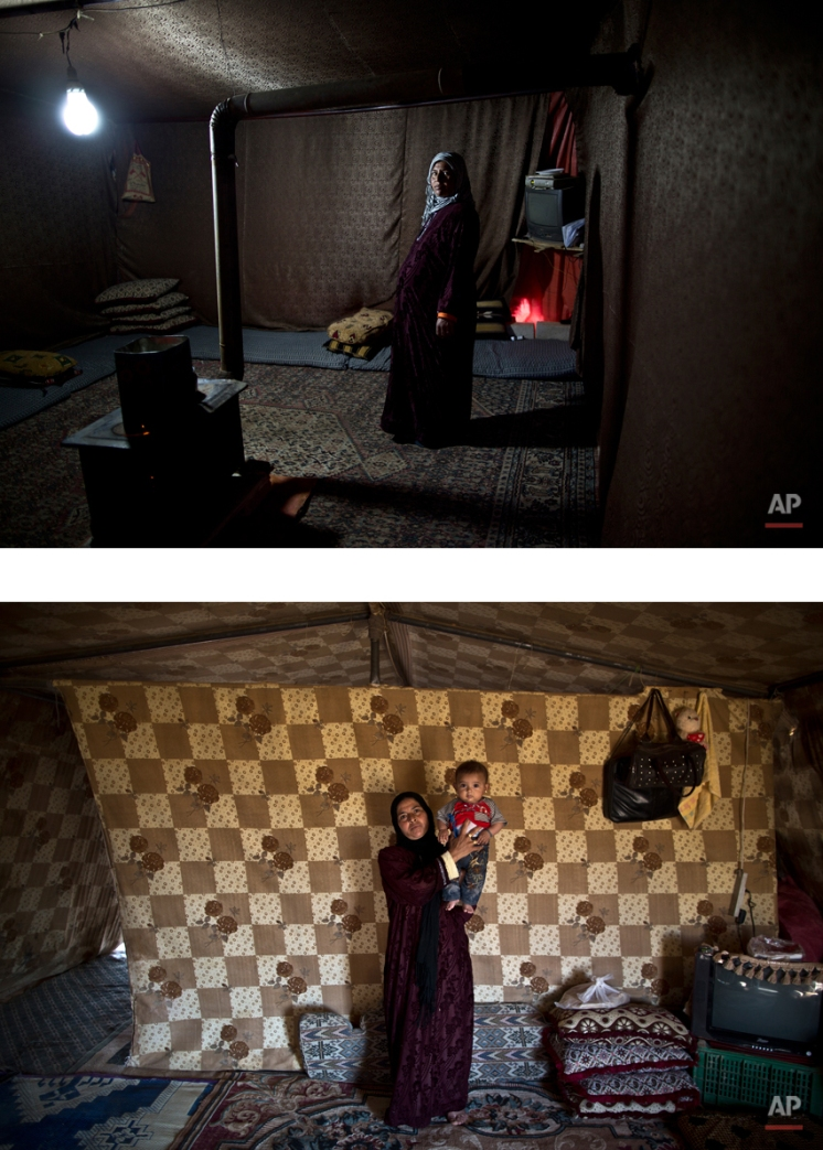 """This combination of two images taken between Tuesday, March 17, 2015, top, and Thursday, Aug. 13, 2015, shows Syrian refugee Mahdiya Alkhalid, 36, posing for a picture while being pregnant, and after giving birth to her child, at an informal tented settlement near the Syrian border, on the outskirts of Mafraq, Jordan. """"We are the ones who live outside of the registered camps with miserable conditions,"""" Alkhalid says. """"My husband has no work. All we want is people to help us and pay us some attention."""" (AP Photo/Muhammed Muheisen)"""