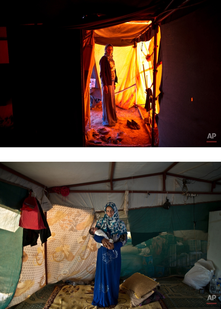 """This combination of two images taken between Monday, March 16, 2015, top, and Sunday, Aug. 16, 2015, shows Syrian refugee Feedah Ali, 18, posing for a picture while being pregnant, and after giving birth to her child, at an informal tented settlement near the Syrian border, on the outskirts of Mafraq, Jordan. """"We left Syria two years ago with nothing and today we have nothing, I wish someone could turn to us, help us, take us out of our misery,"""" Ali says. (AP Photo/Muhammed Muheisen)"""