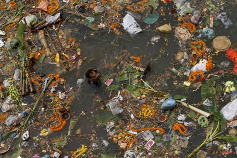 A man searches for reusable material in the waters of the River Kuakhai polluted with offerings thrown by devotees after the immersion of idols of Hindu deities in Bhubaneswar, India, Friday, Sept. 18, 2015. After worshipping them Hindu devotees immersed in the river several idols of deities Ganesh and Viswakarma marking the festivals Ganesh Chaturti and Viswakarma Puja. (AP Photo/Biswaranjan Rout)