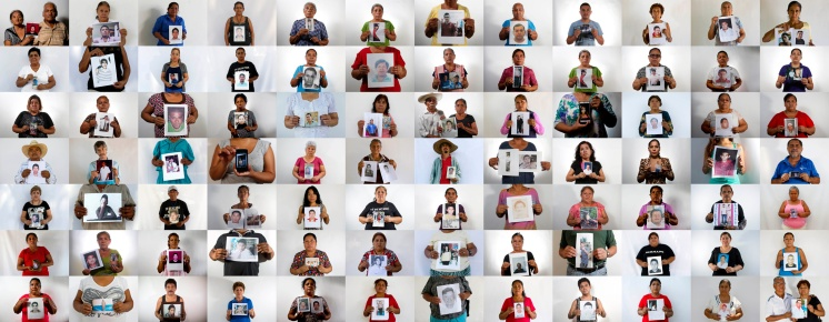 """This is an 84-photo composite of people, each holding an image of their missing relative. The photographs of the 84 were shot between April and August of 2015 in the city of Iguala and surrounding towns. The world, and even most of Mexico, paid little attention to Iguala until 43 students from a rural teachers' college disappeared on Sept. 26, 2014. Two months after the students disappeared many other families in the area began coming forward to tell their stories, emboldened by the international attention focused on the missing students. Their message was simple: there are many more missing. They called them """"the other disappeared."""" The AP interviewed the relatives of 158 of those missing. Only 84 agreed to be photographed because they are still very fearful. (AP Photo/Dario Lopez-Mills)"""