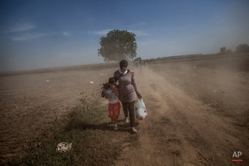 Migrants walk near to the border between Serbia and Croatia. in Sid, Serbia, Thursday, Sept. 17, 2015. Croatia has suddenly become the latest hotspot in the 1,000-mile plus exodus toward Western Europe after Hungary sealed off its border Tuesday with a razor-wire fence and then used tear gas, batons and water cannons to keep the migrants out. (AP Photo/Manu Brabo)