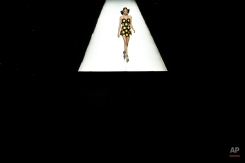 A model displays a 2016 Spring/Summer design by Maria Escote , during Madrid Fashion Week in Madrid, Spain, Monday, Sept. 21, 2015. (AP Photo/Daniel Ochoa de Olza)