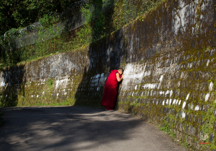 An exile Tibetan Buddhist nuns prays touching her head on a wall surrounding the residence of her spiritual leader the Dalai Lama in Dharmsala, India, Monday, Sept. 28, 2015. The Dalai Lama remains at the Mayo Clinic in Rochester after cancelling his U.S. appearances for the month of October.The 80-year-old Tibetan Buddhist leader's office says he has canceled his planned U.S. visit next month after doctors advised him to rest.(AP Photo/Ashwini Bhatia)