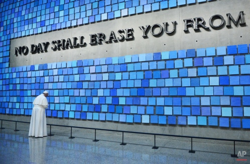 Pope Francis visits the 9/11 Museum, Friday, Sept. 25, 2015 in New York. (Susan Watts/New York Daily News via AP, Pool)