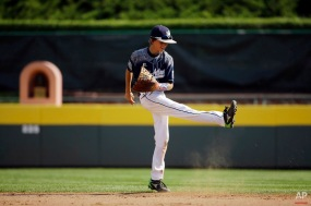 Lewisberry, Pa.'s Braden Kolmansberger kicks the dirt after missing a single by Japan's Yuma Wantanabe during the second inning of the Little League World Series Championship baseball game, Sunday, Aug. 30, 2015, in South Williamsport, Pa. (AP Photo/Matt Slocum)