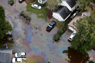 An oil sheen can be seen of floodwaters in a subdivision west of the Ashley river in Charleston, S.C., Monday, Oct. 5, 2015. The Charleston and surrounding areas are still struggling with floodwaters due to a slow moving storm system. (AP Photo/Mic Smith)