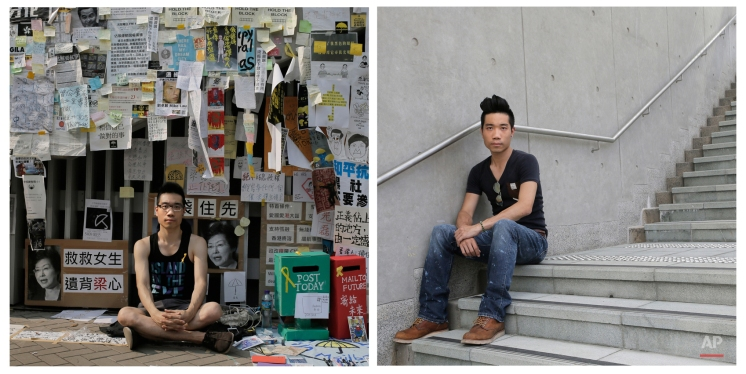 This combination of photos shows Summer Tsang, 24, a student, posing for a portrait in front of a wall with anti-government slogans in an occupied area outside government headquarters in Hong Kong on Oct. 22, 2014, and Tsang, 25, a property salesman, posing for a portrait outside government headquarters in Hong Kong almost one year later on Sept. 28, 2015. (AP Photo/Vincent Yu)