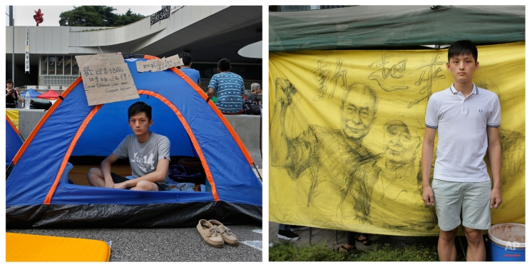 This combination of photos show Jay Koon, 19, a university law student, posing for a portrait in a tent on a main road in an occupied area outside government headquarters in Hong Kong on Oct. 11, 2014, and Koon posing for a portrait in a protest area outside government headquarters in Hong Kong almost one year later Sept. 28, 2015. (AP Photo/Vincent Yu)
