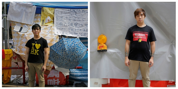 """This combination of photos show, left, Tabris Ho, a salesperson, posing for a portrait with his """"I love HK"""" T-shirt on a main road in the occupied areas at Causeway Bay district in Hong Kong, on Oct. 10, 2014, and right, Ho posing for a portrait near a subway station in Hong Kong almost one year later on Sept. 27, 2015. (AP Photo/Vincent Yu)"""
