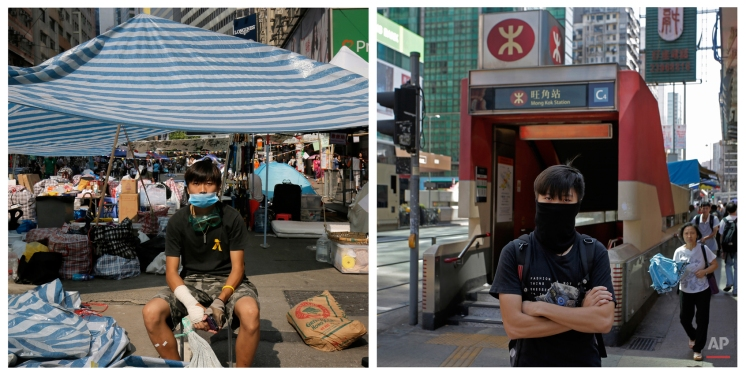 This combination image shows Mo, 22, an accountant, posing for a portrait in front of a makeshift tent on a main road in an occupied area in Hong Kong's Causeway Bay district on Oct. 14, 2014, and right, on Sept. 25, 2015, Mo posing for a portrait in front of a subway station in Hong Kong almost one year later. (AP Photo/Vincent Yu)